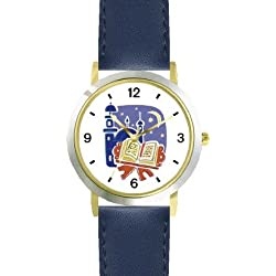 Holy Koran or Quaran Moslem or Muslim Theme - WATCHBUDDY DELUXE TWO-TONE THEME WATCH - Arabic Numbers - Blue Leather Strap-Children's Size-Small ( Boy's Size & Girl's Size )