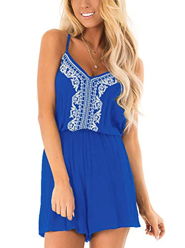 Classic Embroidered Romper - INFITTY Womens Embroidered Sexy V Neck Rompers Casual Spaghetti Strap Short Jumpsuit Loose Short Pants Royal Blue Small