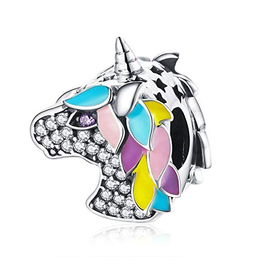 XingYue Jewelry 925 Sterling Silver Unicorn Charms Colorful Enamel Openwork Animal Faith Charms Fit Snake Chain Bracelet (Colourful Unicorn Charm) -