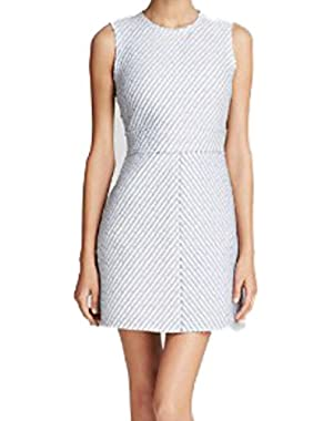 Theory Women's Dress Raneid R Heightened Tweed White Navy