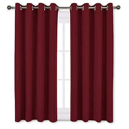 NICETOWN Burgundy Blackout Draperies Curtains - Thermal Insu