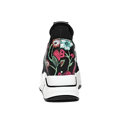 Negro black Super Zapatos Otoño Fuego de AJUNR Transpirable Mujer Zapatos Zapatos Zapatillas n1x7TqOR