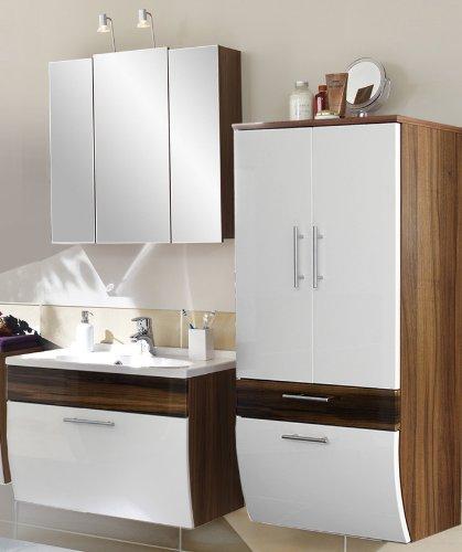 3-tlg Badezimmer Hochglanz weiß - Walnuss Softclose Spiegelschrank Badmöbel