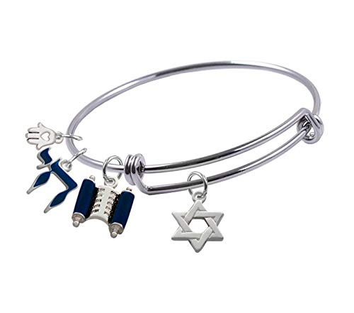 Expandable Bangle bracelet with Silver Plated, Star of David Charm, Blue Torah Scroll, Blue Chai and small Hamsa charm, Qty.1