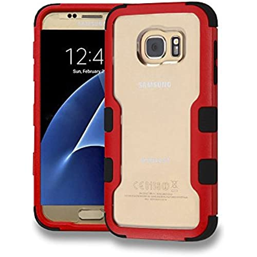 Samsung Galaxy S7 G930 Case, Kaleidio [Vivid TUFF] Clear See-Thru Rear Hybrid Silicon Bumper Cover [Includes a Overbrawn Prying Tool] [Red/Black] Sales