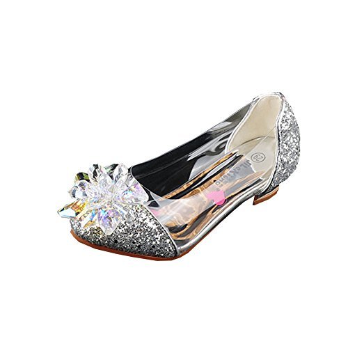 Miaoshop Girl's Multicolor Cinderella Glass Slipper Heels Princess Crystal Shoes (1.5M US Little Kid, Silver) ()