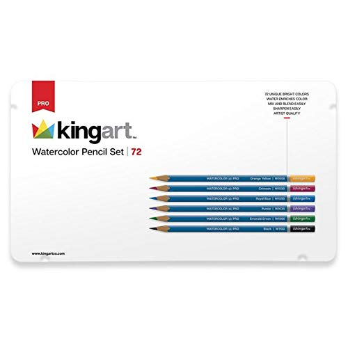 KINGART 310-72 Watercolor, Metal Tin Case, Set of 72 Unique Colors Pencil Set, Assorted 72 Piece