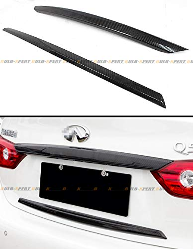 Cuztom Tuning FITS for 2014-2017 Infiniti Q50 Rear Trunk Plate Trim Carbon Fiber Cover Overlay 2 PCS
