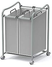 SimpleHouseware 2-Bag Heavy Duty Rolling Laundry Sorter Cart, Grey