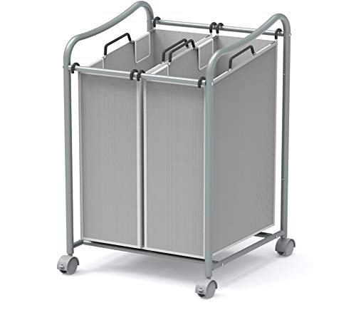 Simple Houseware 2-Bag Heavy Duty Rolling Laundry Sorter Cart, Silver (Bin Laundry Cart)