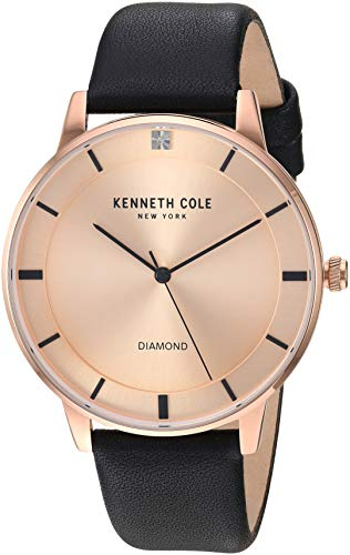 Kenneth Cole New York Male Stainless Steel Quartz Watch with Leather Strap, Black, 19 (Model: KC50857001