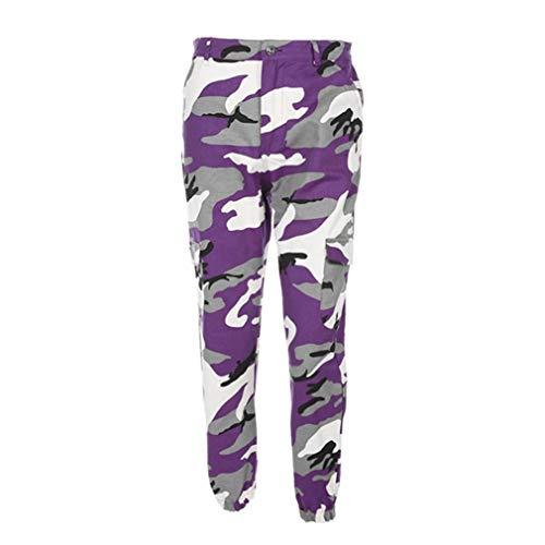 Women Sports Camo Cargo Pants Harem Outdoor Casual Camouflage Trousers Fashion Boyfriend Jeans Purple