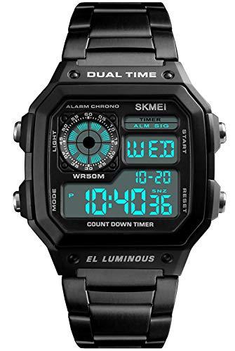 PASOY Men's Digital Multi-Function Watches Dual Time Alarm Stopwatch Countdown Backlight Waterproof Watch (Black) ()