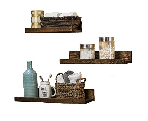 del Hutson Designs Rustic Luxe Floating Shelves, USA Handmade, Pine Wood, Set of 3 (Dark Walnut) Review