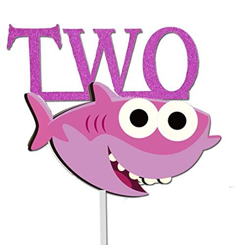 (GmakCeder Shark TWO Birthday Cake Topper for Baby Shark Birthday Pink Girl)