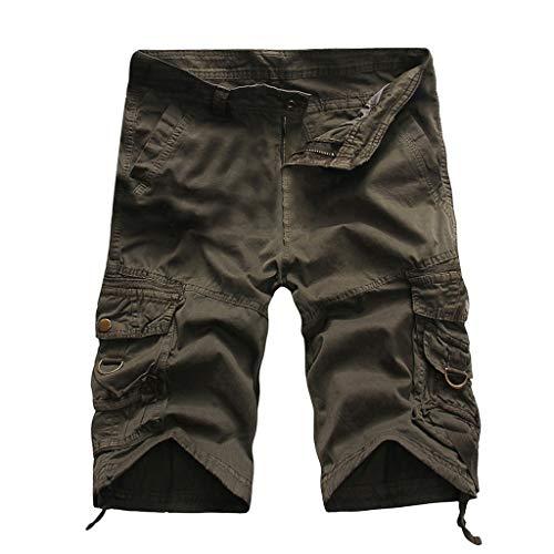Alangbudu Men's Casual Twill Elastic Cargo Shorts Below Knee Loose Fit Multi-Pocket Capri Long Shorts Gray ()