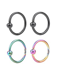 DS 4-8pcs 16G Stainless Steel Captive Bead Ring CBR Hoop Helix Tragus Ear Lobe Earring Nose Ring 3mm Ball 6mm