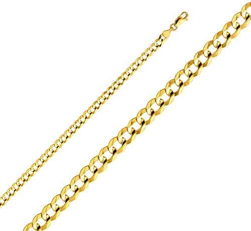 Wellingsale 14k Yellow Gold SOLID 4.7mm Polished Cuban Concaved Curb Chain Necklace with Lobster Claw Clasp