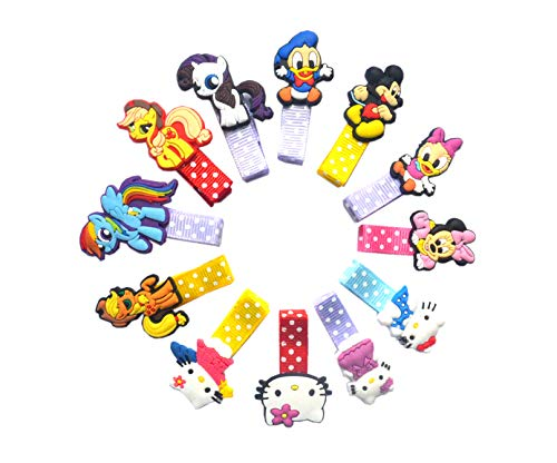12 PCS Little Pony Hello Kitty Mickey Mouse and Donald Duck Hair Clips for Girl Gift