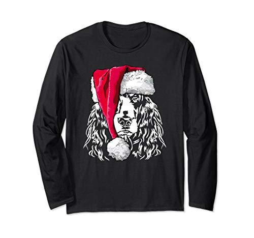 Funny Cocker Spaniel Christmas Santa Dog Long Sleeve T-Shirt ()
