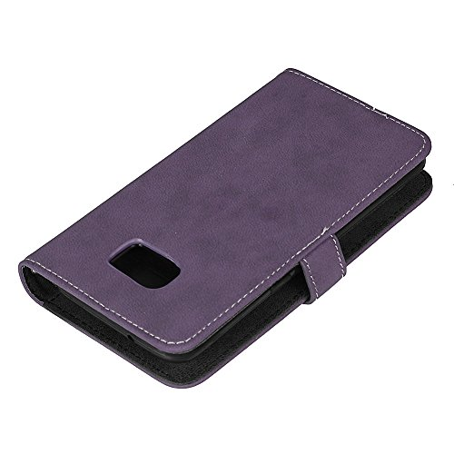 Samsung Galaxy S7 edge Hülle, Samsung Galaxy S7 edge Echte Rindsleder Brieftasche Hülle , COZY HUT® [Premium Leder Serie] [Wallet Case] Praktishe Ledertasche [Schwarz] Integrierter Aufstell Funktion u Lila scheuert