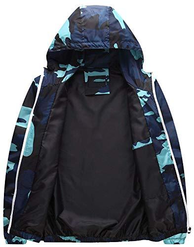 Vintage Laterali Con Camuffare Elasticità Moda Coat Tasche Sottile Donna Giacca Outwear Giaccone Hellblau Autunno Cerniera Cappuccio Czpwt0qxn