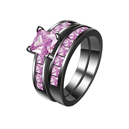 Clearance ! Ladies Ring Jewelry,Vanvler 2-in-1 Vintage Ring Set Purple Diamond Engagement Wedding Band (11, (Bandannas Clearance Bandannas)