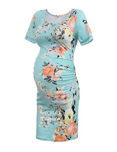 Musidora Maternity Dress for Baby Shower, Blue S