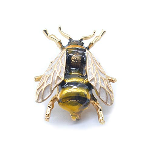 PT FASHIONS Cute Yellow Bee Brooch Clothes Accessories Vintage Enamel Insect Bug Honey Animal Metal Clothing Pin for Women Girls from PT FASHIONS
