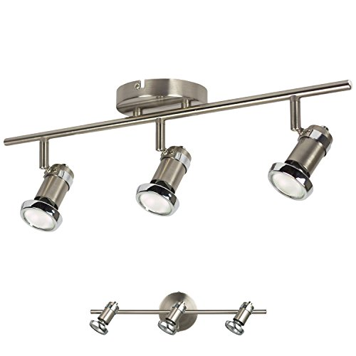 Adjustable Wall Fixture (3 Light Track Lighting Adjustable Wall or Ceiling Spot Light Fixture, Brushed Nickel & Chrome)