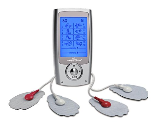 Easy@Home Rechargeable TENS Unit + EMS Muscle Stimulator, Dual Independent Channels With 20 Intensity Levels, 8 EMS or TENS Massage Types + 16-Mode, Handheld Electronic Pulse Massager, EHE029G-B