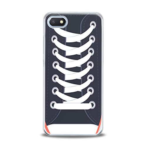 (Lex Altern TPU Case for Xiaomi Mi 9 A2 A1 Note 3 8 SE Mix 2s 5X 6X 8X Sneakers Fancy Shoelaces Clear Pattern Black Cover Soft Silicone Protective Trend Transparent Kids Girl Women White Stylish Gift)