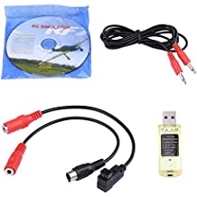 Asixx RC Simulator, 22 in 1 RC USB Simulator with Cables for Real Flight G7 / G6 / G5, Reflex XTR, Phoenix 4 E2HG, Aero Fly and FMS, 3 Patch Cord Cables, 1 Simulator Software DVD