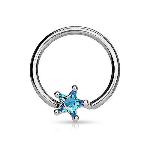 Covet Jewelry Solitaire Star CZ Stone Captive Bead Ring 316L Surgical Steel (Aqua)