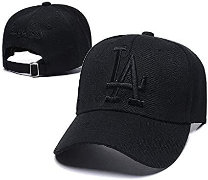 Wesport Xiaoha Store LA Emblem Baseball Hat Embroidery Adult Men Women Universal Fit Los Angeles Dodgers Cap (White-Black Logo)