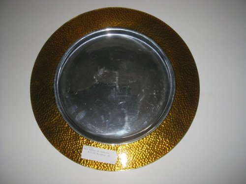 Charge it by Jay Round Amber Hammered and Enamel Rim Charger Plate