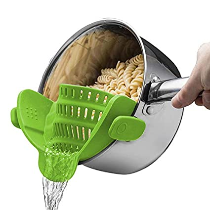 Martinmble Colander Set,Colander Strainer,Kitchen Strain,Strainer Clip On Silicone Colander Fits All Pots Bowls Kitchen Accessories Size: 23 * 12.5 * 6.7cm,Color: Green, Gray, red, Black