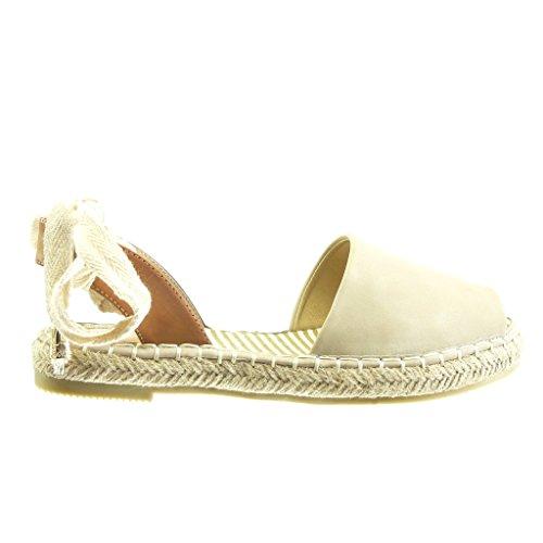Angkorly Damen Schuhe Espadrilles Sandalen - Offen - Seil - Knoten - Spitze Blockabsatz 2 cm Grau