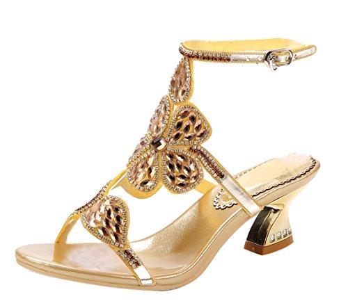 565eadd66d6 Honeystore Women s Spark Rhinestone Block Heel Sandals Gold ...