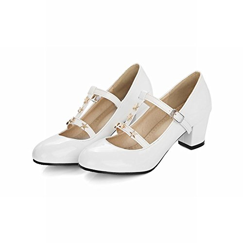 Mee Shoes Womens Sexy Block-heel T-stripe Court Shoes White OjblmREanm