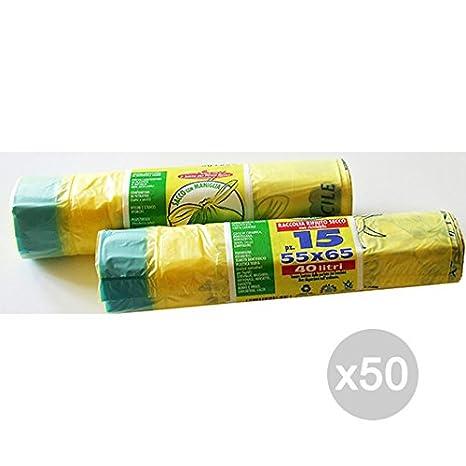 Peter - Lote de 50 Bolsas de Basura Amarillas 55 x 65 H-D ...