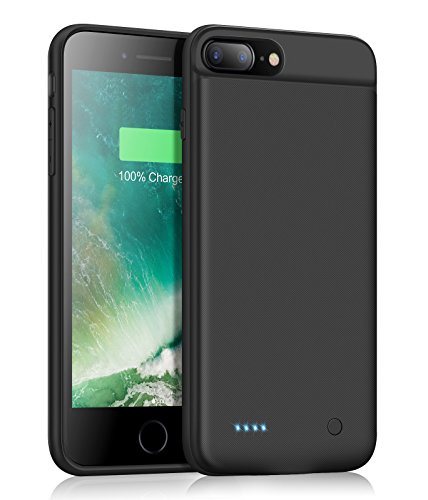 DERONG iPhone 7/8 Plus Charger Case, Ultra Slim Battery Case Rechargeable Extended Battery Pack Protective Backup Charging Case Cover for iPhone 7 Puls/8 Plus 3200mAh (5.5 Inch)-Black