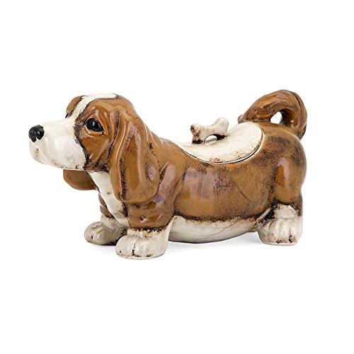 Benzara Bently the Dog Cookie Jar, Brown & White