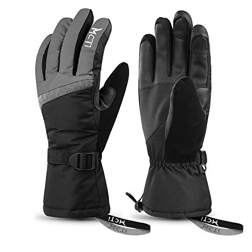 MCTi Ski Gloves,Winter Waterproof Snowboard Snow 3M Thinsulate Warm Touchscreen Cold Weather Women Gloves Wrist Band Grey Medium