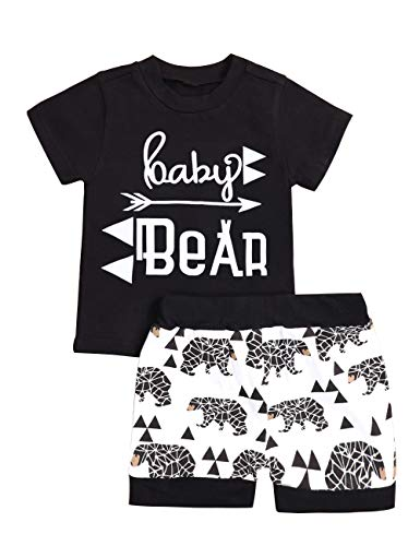 Baby Boy Clothes Short Sleeve Baby Bear T-Shirt Bear Printing Pants 2PC Summer Outfit Set