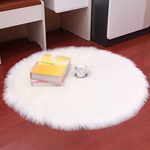 DQMEN Piel de Cordero Oveja/Sheepskin Rug Cordero, imitacion mullida Alfombras imitacion Piel sintetica Deko Piel,para salon Dormitorio bano sofa Silla cojin (Blanco, 60 X 60 CM)