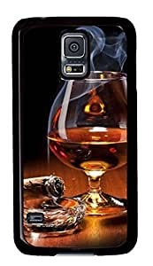 Diy Fashion Case for Samsung Galaxy S5,Black Plastic Case Shell for Samsung Galaxy S5 i9600 with Brandy Glass