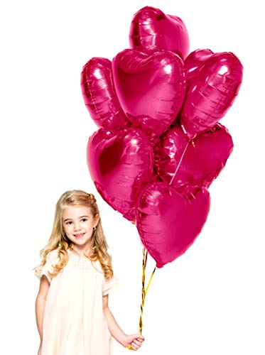Treasures Gifted Valentines Day Heart Love Party Decorations in Magenta Pink Foil Mylar Balloons for Baby Shower Wedding Anniversary and Engagement Birthday Graduation (6 Pack) Christmas Gift Shaped Mylar Balloon