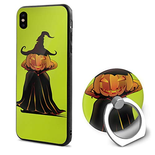 Barton Apple iPhone Xs Case(2018) / iPhone X Case(2017) + Finger Ring Stand Holder 360 Degree Rotating Combo Set - Halloween Pumpkin