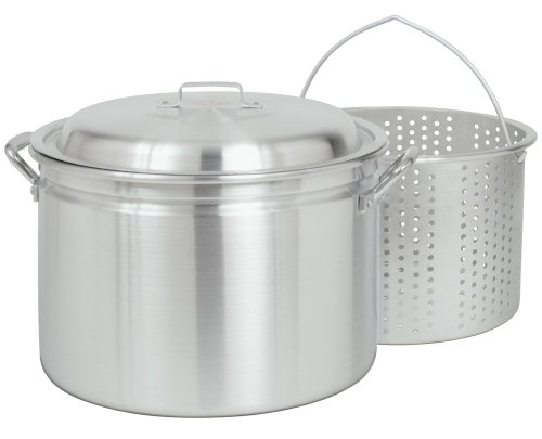 Bayou Classic 4034, 34-Qt. Stockpot with Steam/Boil Basket and Vented Lid, aluminum (Bayou Classic With Lid Steamer)